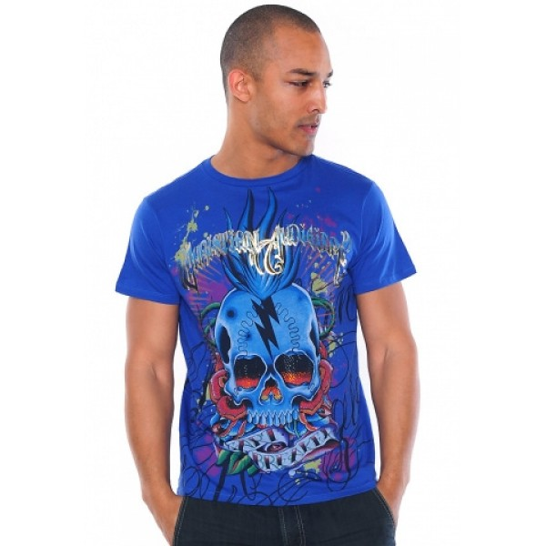 Christian Ed Hardy T Shirts Mens Wholesale Blue Punk