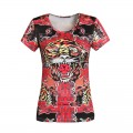 ED Hardy Short T Shirts Womens Classic Tiger Red Fashion