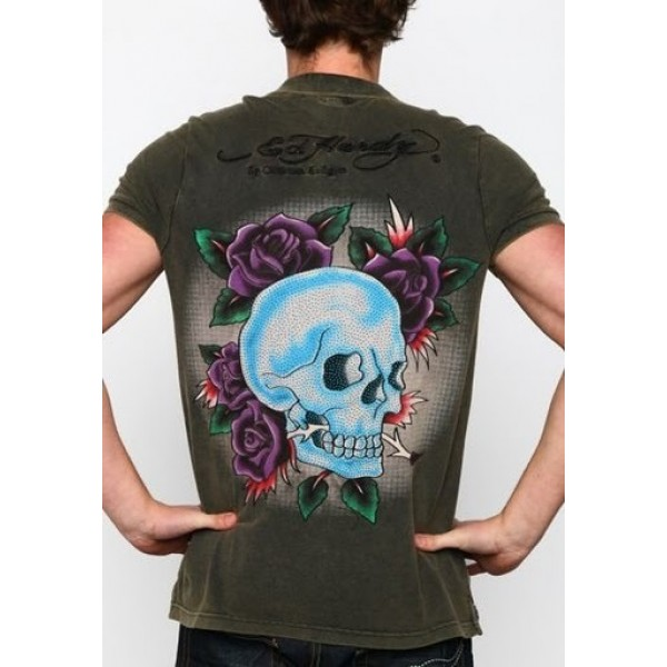 Ed Hardy Mens T Shirts Army Skull For Sale
