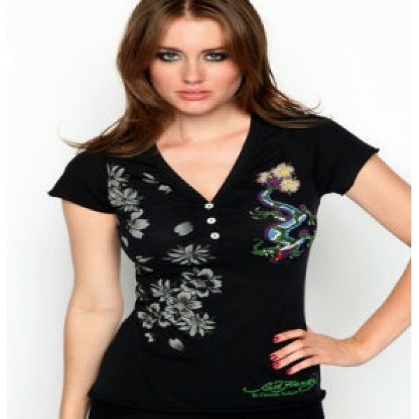 Ed Hardy T Shirts Dragon Black For Women