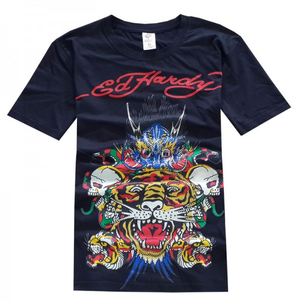 Ed Hardy T Shirts Dragon Tiger Purple Blue For Men
