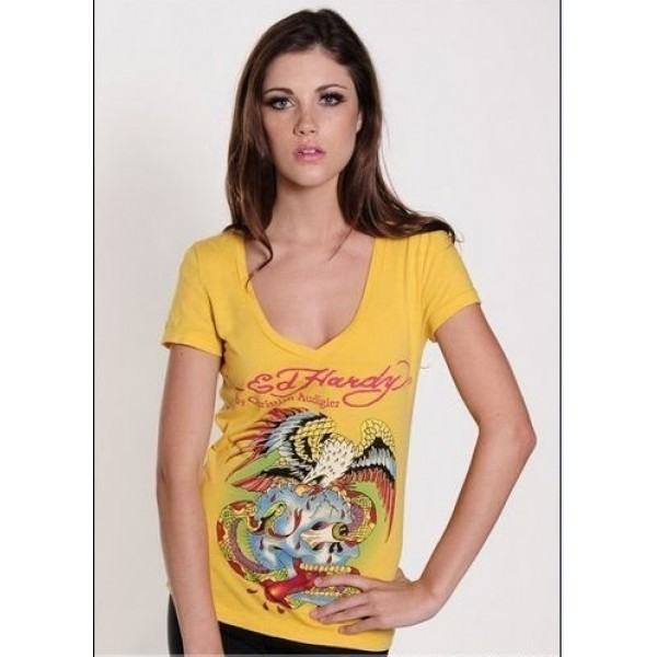 Ed Hardy T Shirts Eagle Skull Yellow For Women