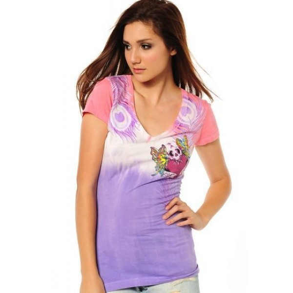 Ed Hardy T Shirts Feather Purple For Women