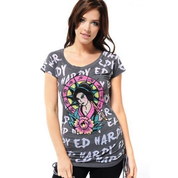 Ed Hardy T Shirts Geisha Grey For Women