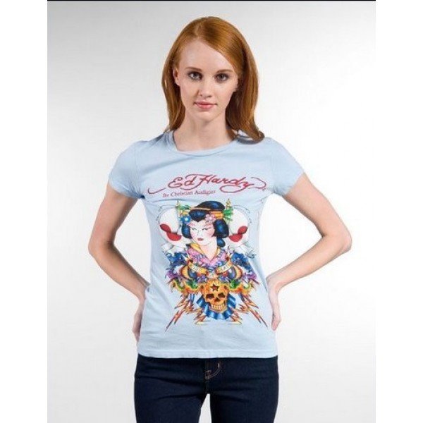 Ed Hardy T Shirts Geisha Light Blue For Women