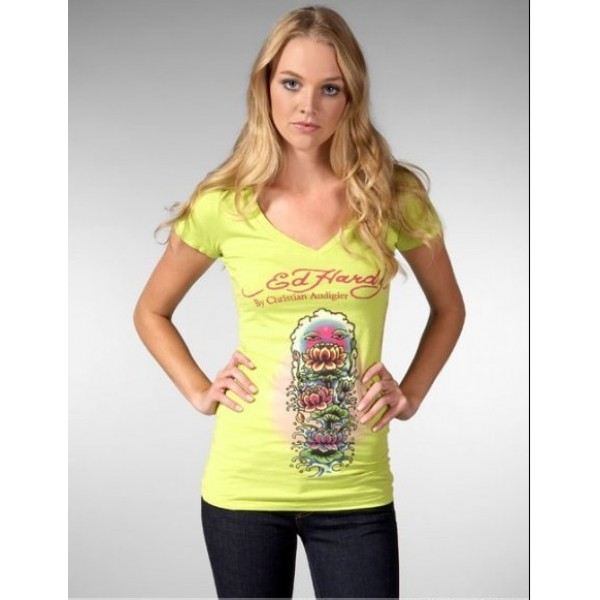 Ed Hardy T Shirts Lotus Yellow For Women