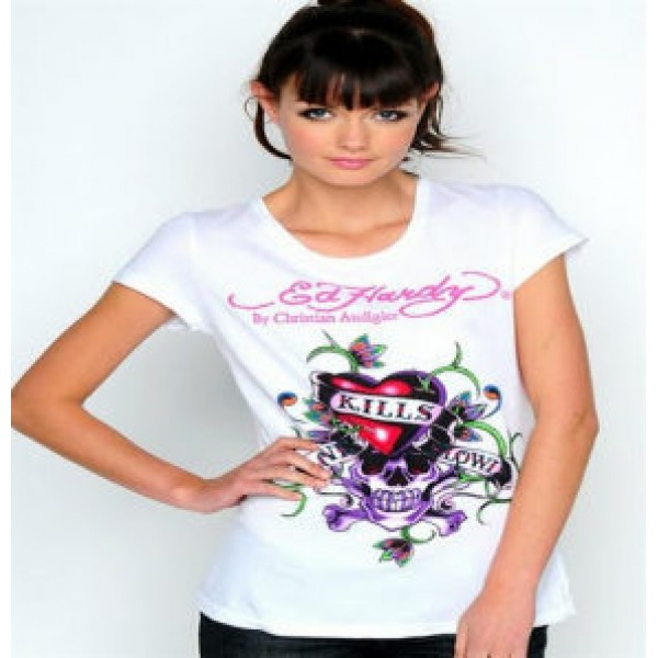 Ed Hardy T Shirts Love Kill Slowly White For Women