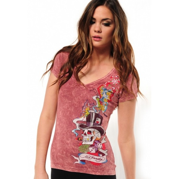 Ed Hardy T Shirts Magic Butterfly Red For Women
