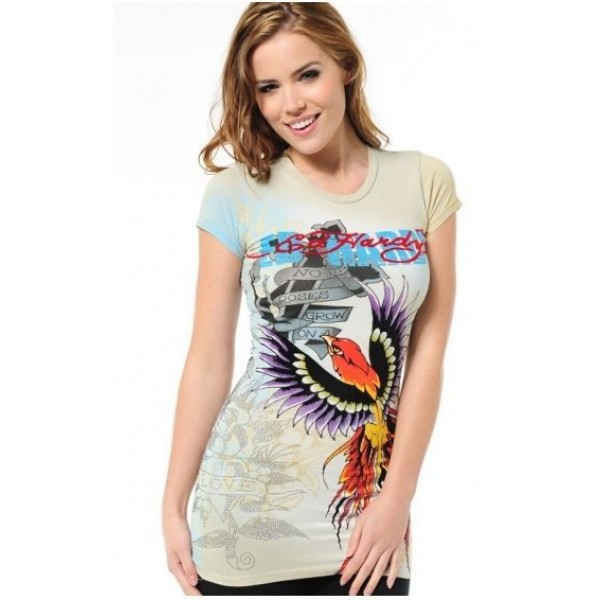 Ed Hardy T Shirts Phoenix Yellow For Women