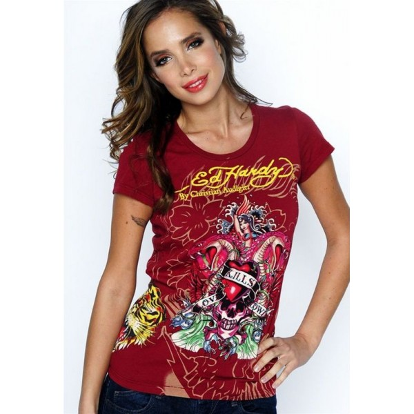 Ed Hardy T Shirts Red Love Kill Slowly For Women