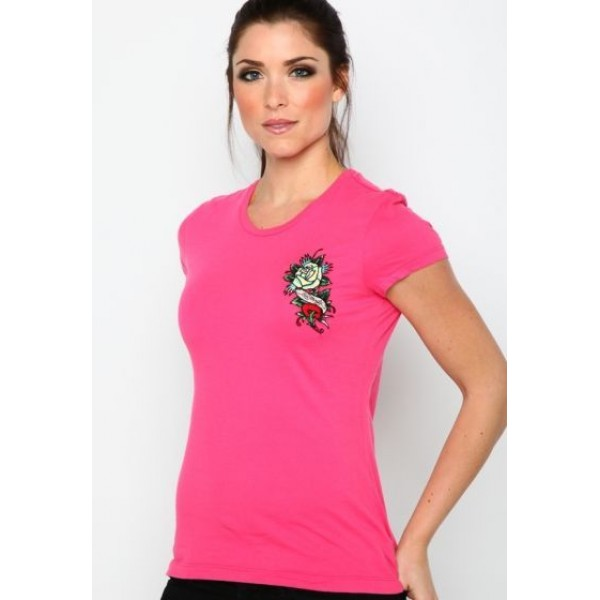 Ed Hardy T Shirts Rose Logo Rose Red For Women
