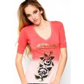 Ed Hardy T Shirts Rose Red Pink For Women