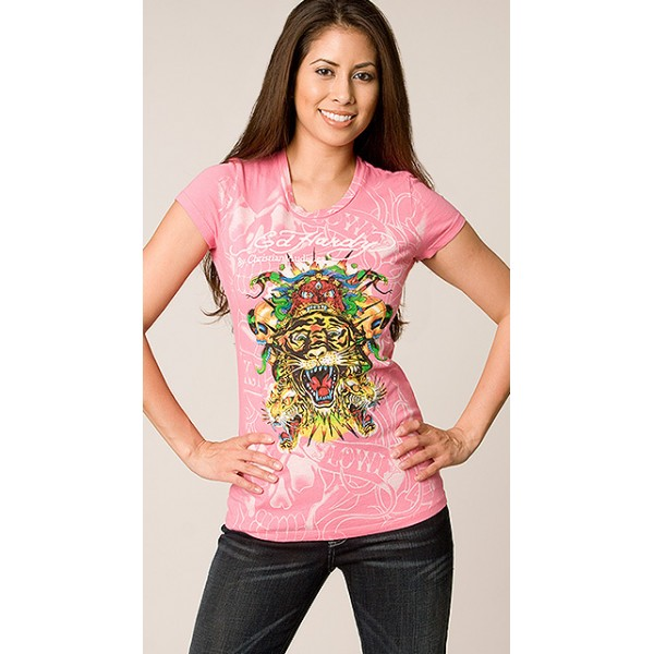 Ed Hardy T Shirts Tiger Bolt Pink For Women