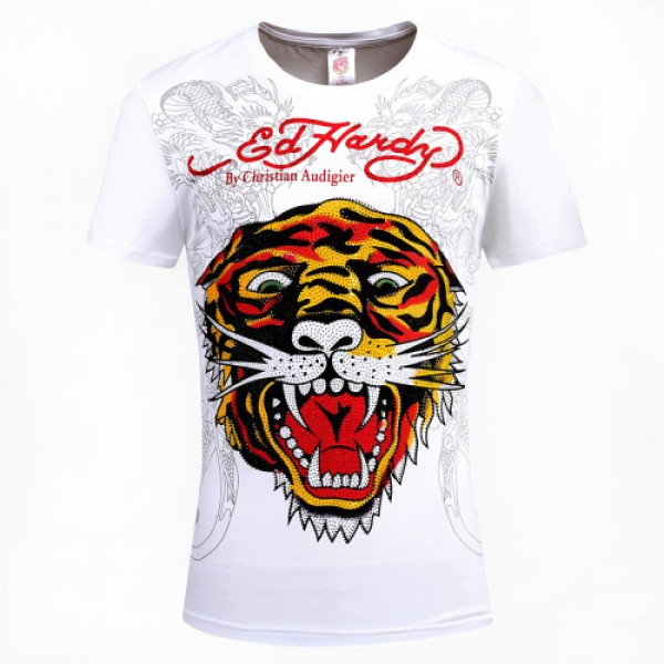 Ed Hardy T Shirts Tiger Dragon White For Men