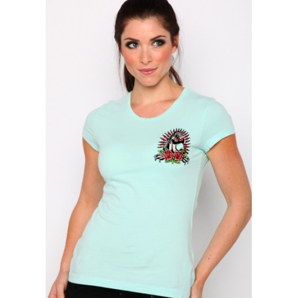 Ed Hardy T Shirts Tiger Logo Light Blue For Women
