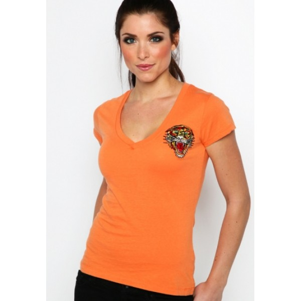 Ed Hardy T Shirts Tiger Logo Orange For Women