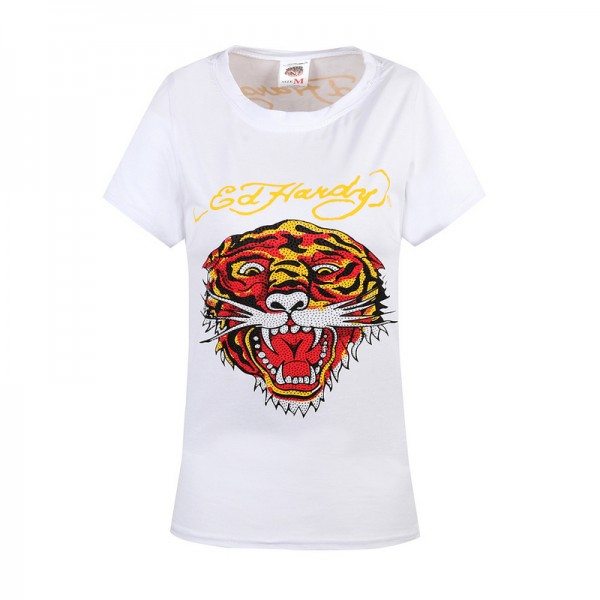 Ed Hardy T Shirts Tiger Logo White For Women