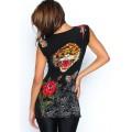 Ed Hardy V T Shirts Black Tiger For Women