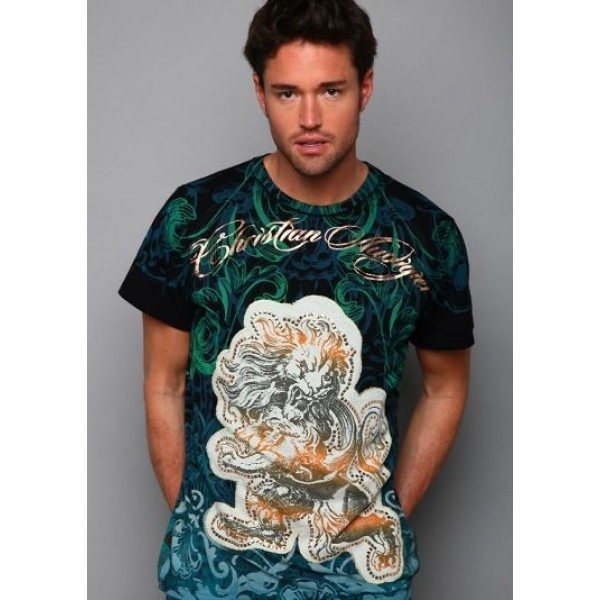 Mens Don Ed Hardy Designs T Shirts Lion Black