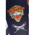 Mens Ed Hardy Short Tee Tiger Butterfly Logo In Black