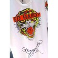 Mens Ed Hardy Short Tee Tiger Butterfly Logo In White