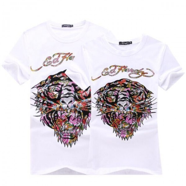 Mens Ed Hardy Short Tee White Colorful Diamond Tiger Logo