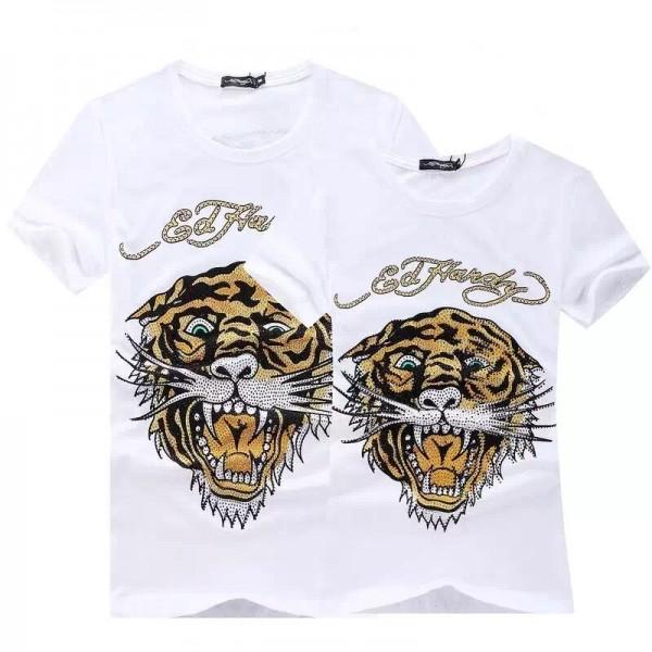 Mens Ed Hardy Short Tee White Diamond Tiger Logo