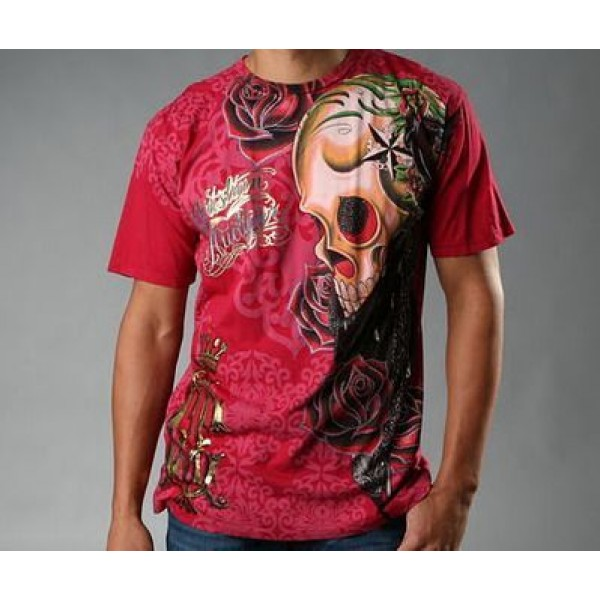 Mens T Shirts Ed Hardy Tattoo Design Red CA