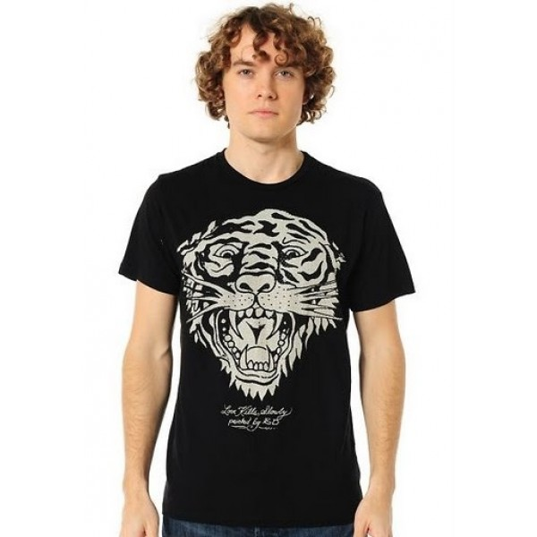 Tiger Black Outlet T Shirts Mens Ed Hardy