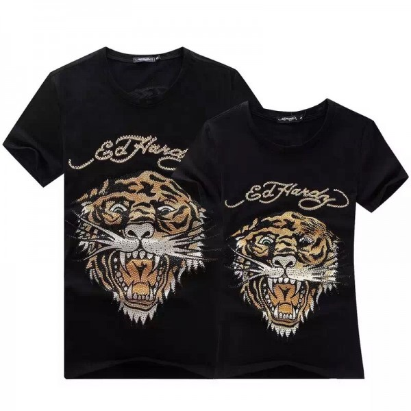 Womens Ed Hardy Short Tee Classic Black Diamond Tiger Logo