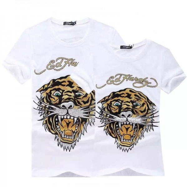 Womens Ed Hardy Short Tee Classic White Diamond Tiger Logo
