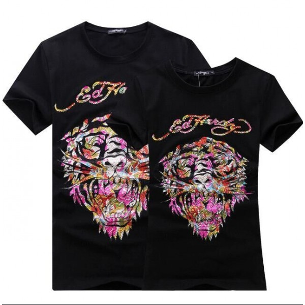 Womens Ed Hardy Short Tee Colorful Diamond Tiger Logo