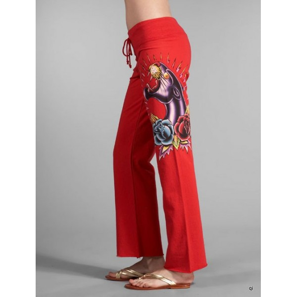 Ed Hardy Tight Pants Black Leopard Red For Women