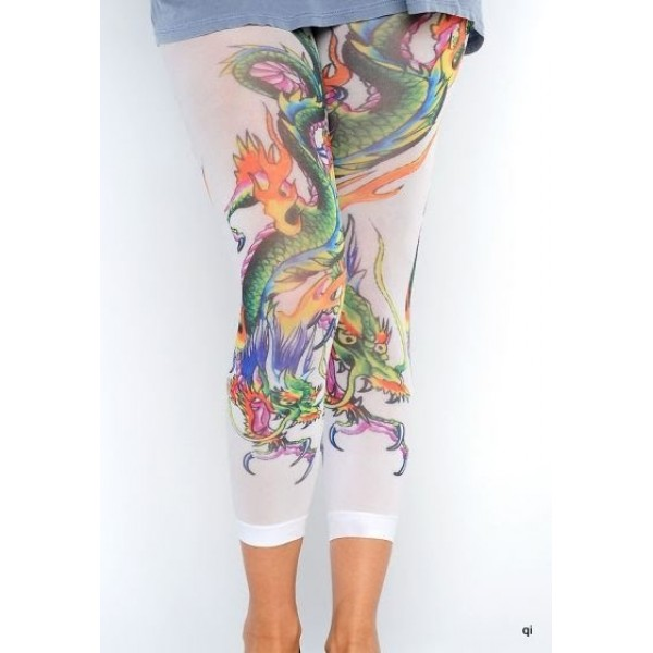 Ed Hardy Tight Pants China Dragon White For Women