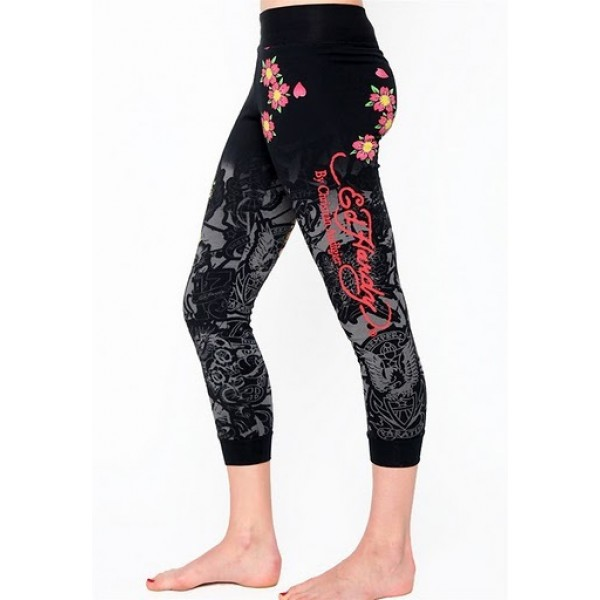 Ed Hardy Tight Pants Japan Skull Black For Women