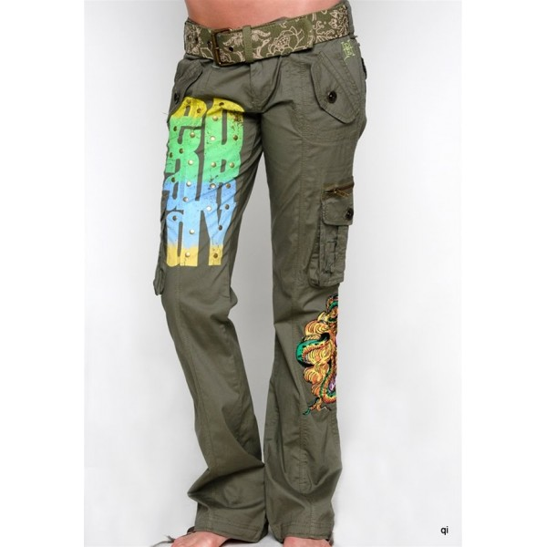 Ed Hardy Tight Pants Pockets Army Green For Women