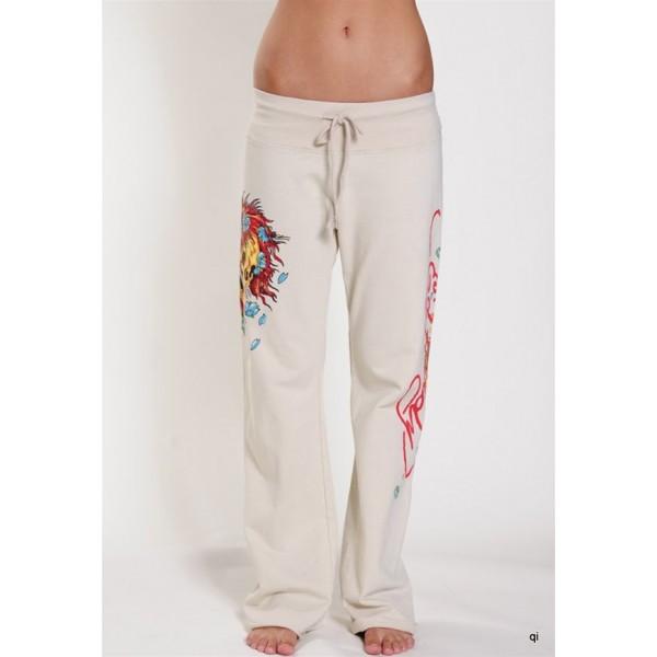 Ed Hardy Tight Pants Skuller Ivory For Women