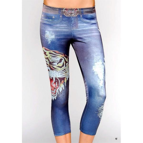 Ed Hardy Tight Pants Tiger Denim Blue For Women
