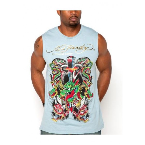 ED Hardy Mens Muscle Shirts China Dragon In Blue