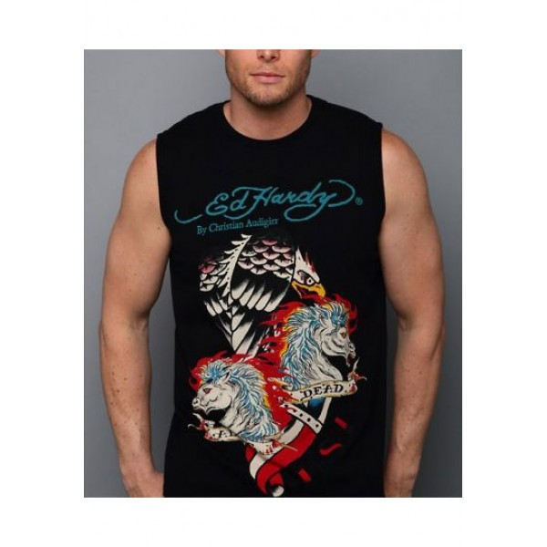 ED Hardy Mens Muscle Shirts Dead Horse Eagle In Black