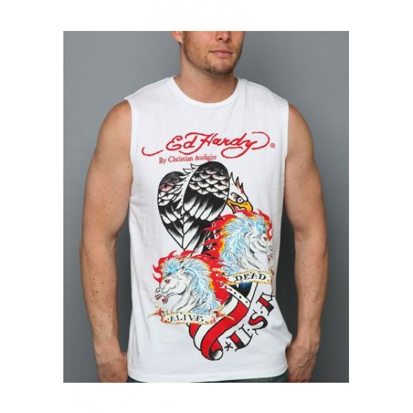 ED Hardy Mens Muscle Shirts Dead Horse Eagle In White