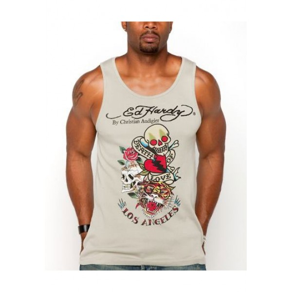 ED Hardy Mens Muscle Shirts Death Of Love In Grey