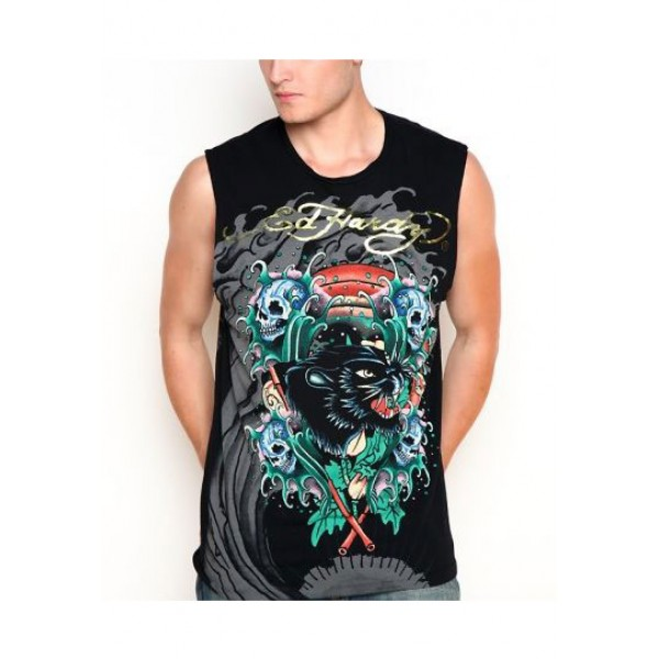 ED Hardy Mens Muscle Shirts Sea Wave In Black