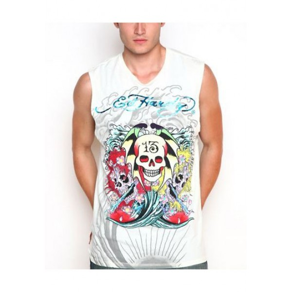 ED Hardy Mens Muscle Shirts Sea Wave Skull 13 In White