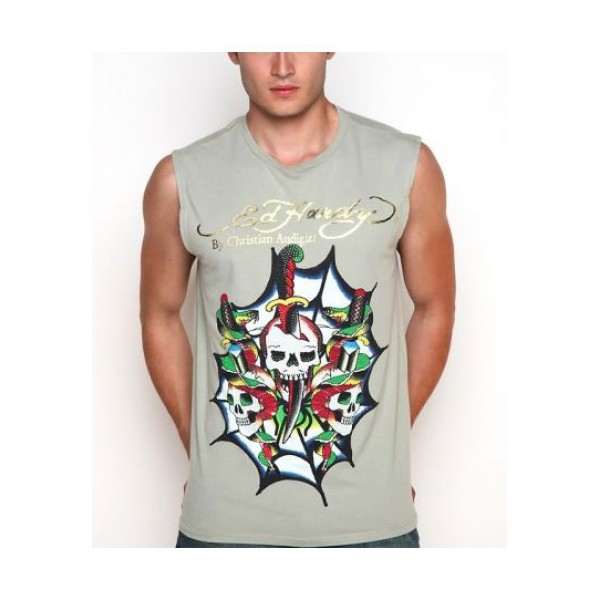 ED Hardy Mens Muscle Shirts Skull In Grey