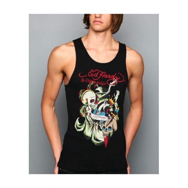 ED Hardy Mens Muscle Shirts Skull Leopard In Black