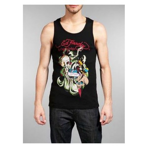 ED Hardy Mens Muscle Shirts Skull Leopard King In Black