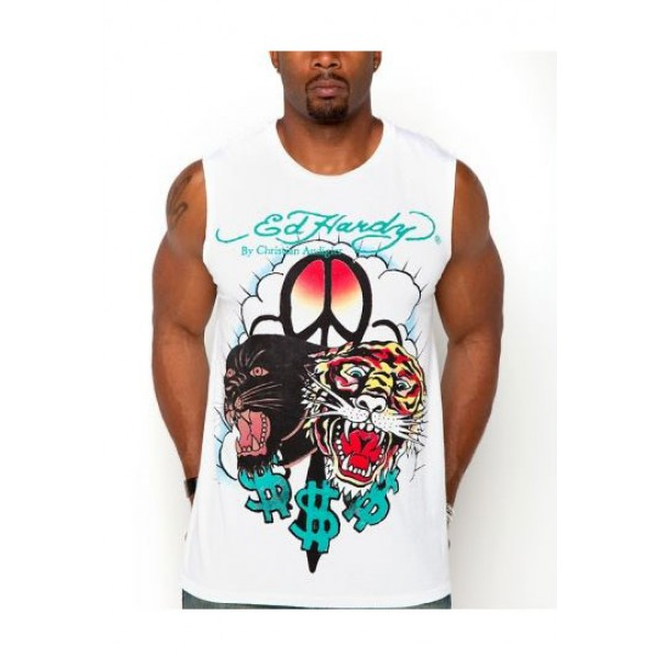 ED Hardy Mens Muscle Shirts Tiger Leopard Dollar In White