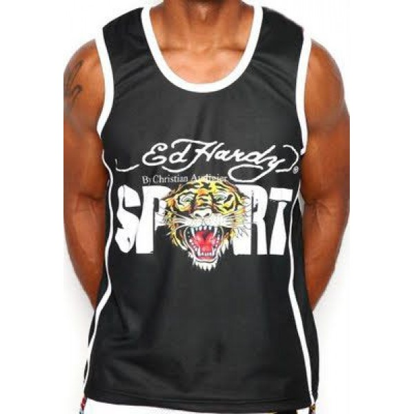ED Hardy Mens Muscle Shirts Tiger Sport In Black