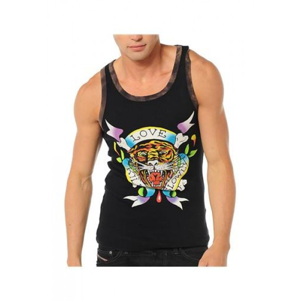 ED Hardy Muscle Shirts LKS Tiger Black For Men